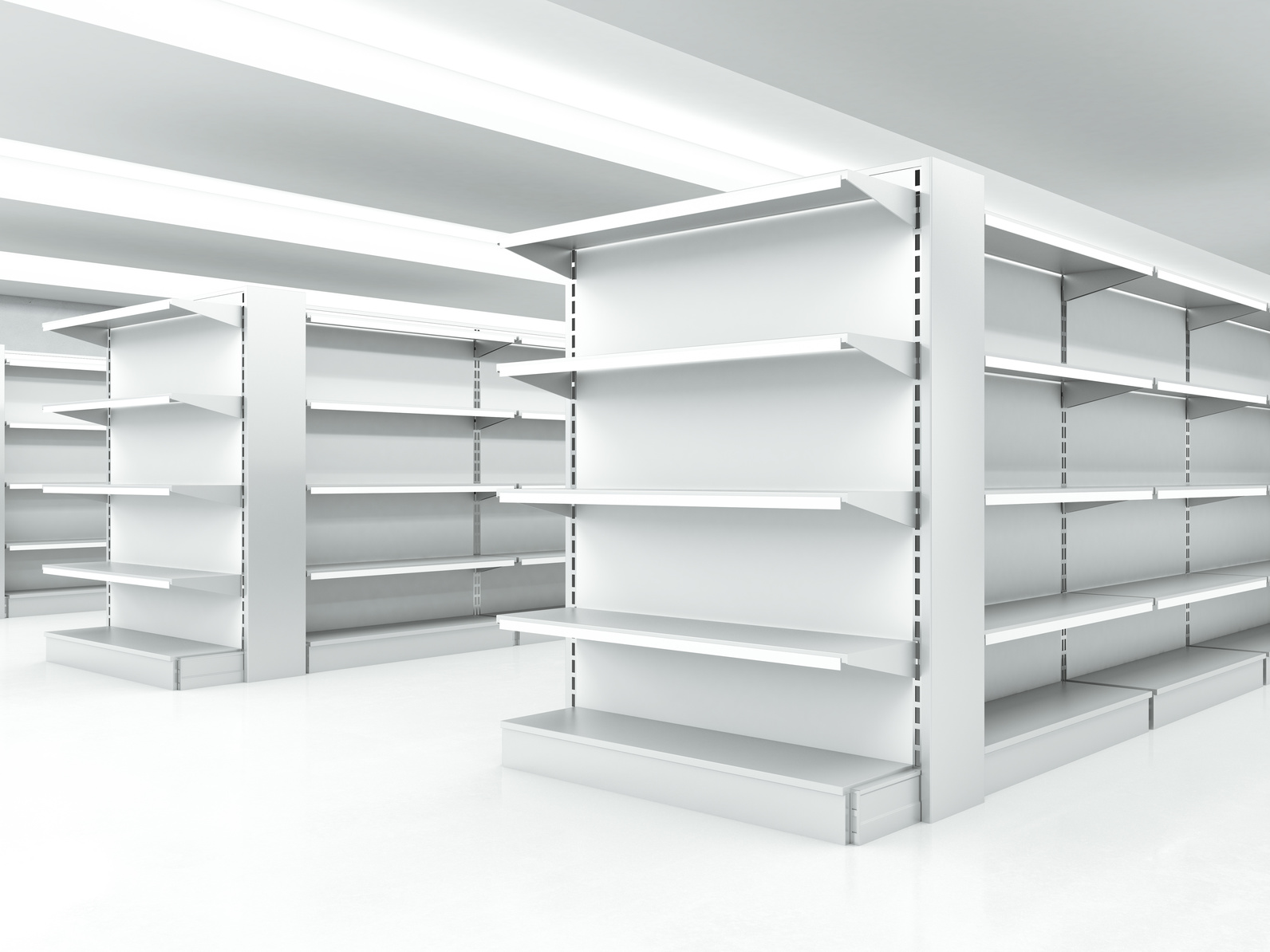 white clean shelves in market. 3d render