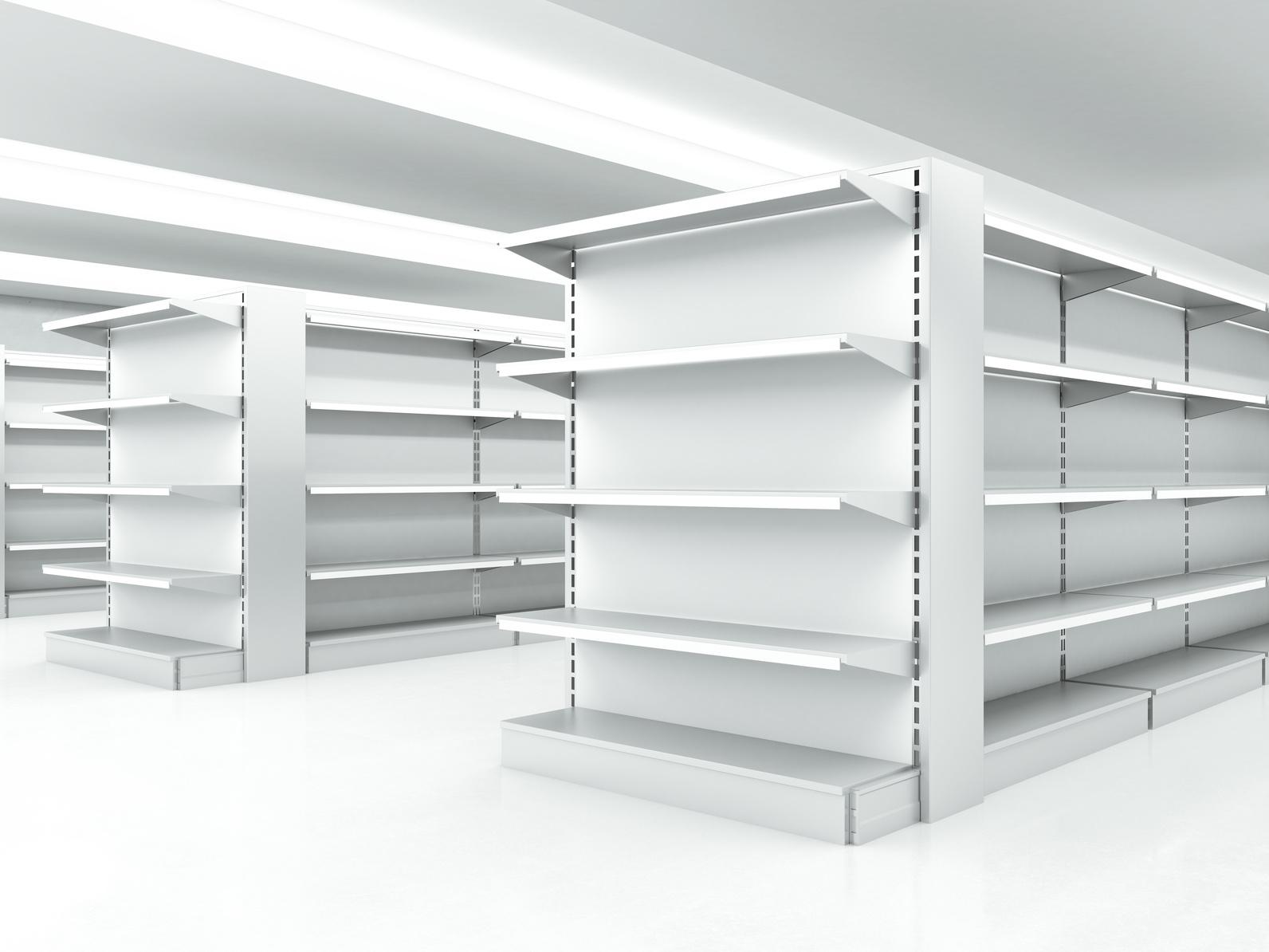 white clean shelves in market. 3d render